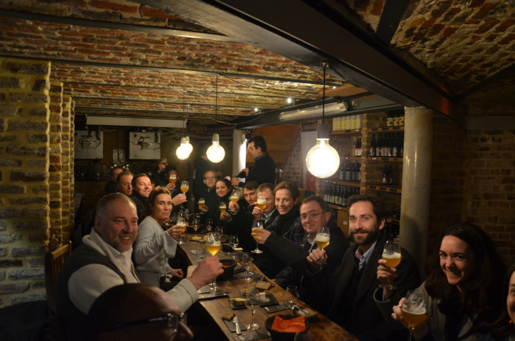 Beer tasting in the cellar of Moeder Lambic